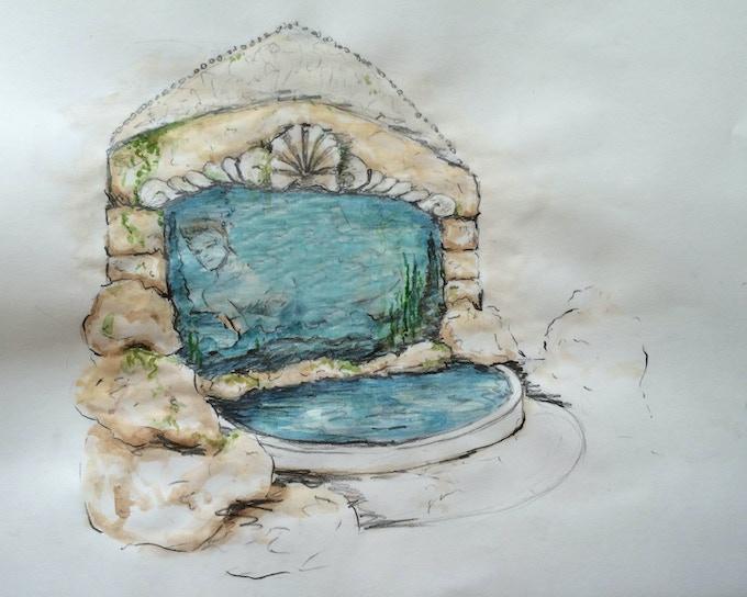 Aqua Twin Tank rendering by Scenic Designer Elisabeth Svenningsen