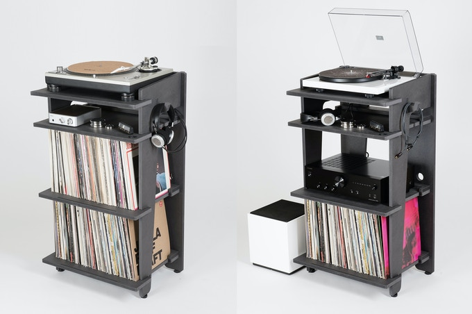 Flexibility the station fits most turntable models with for Meuble pour platine vinyle