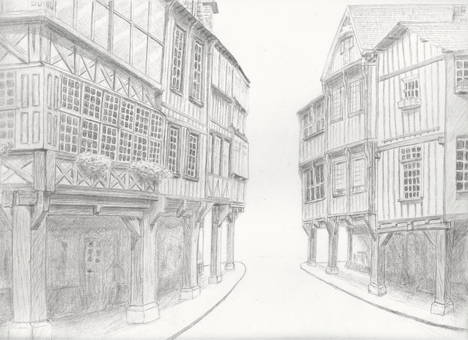 Conceptual Drawing of City Streets (Inspired by Dinan France)