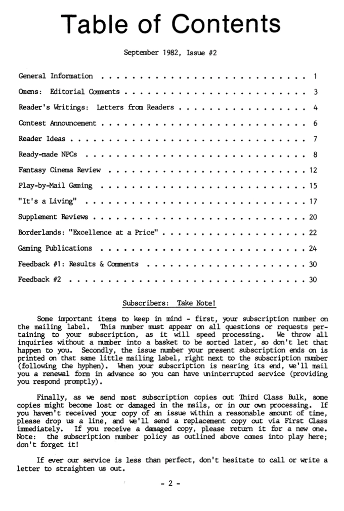 Issue Two table of contents