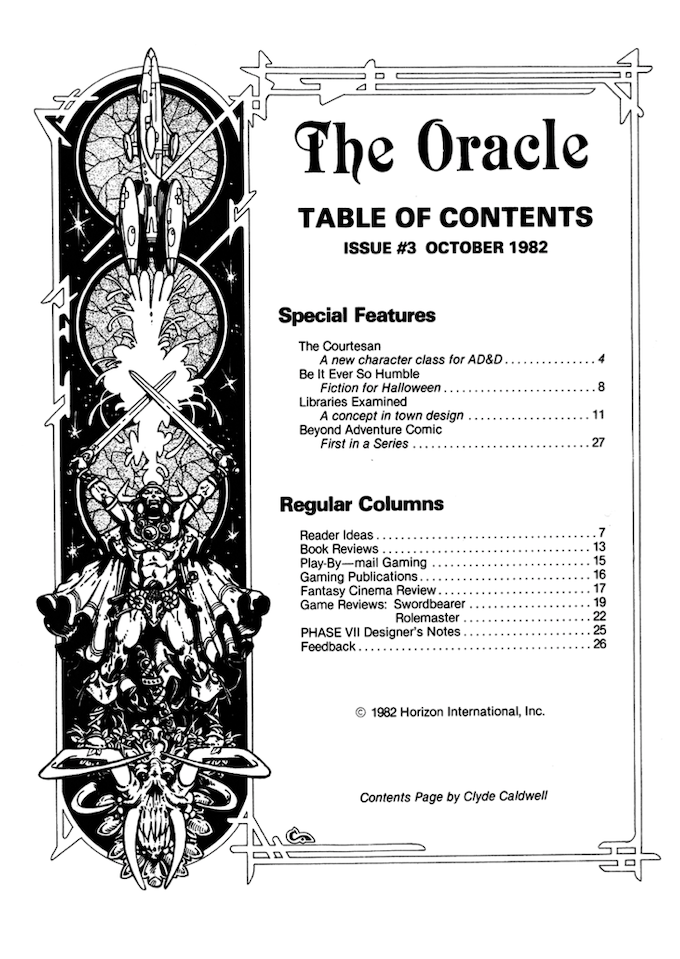 Issue Three table of contents