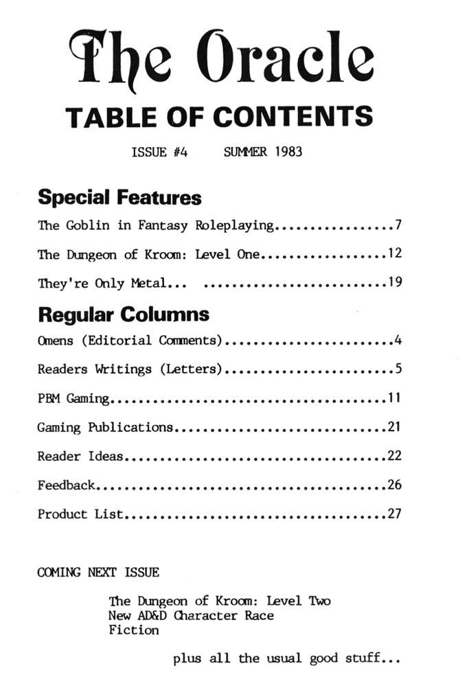 Issue 4 table of contents