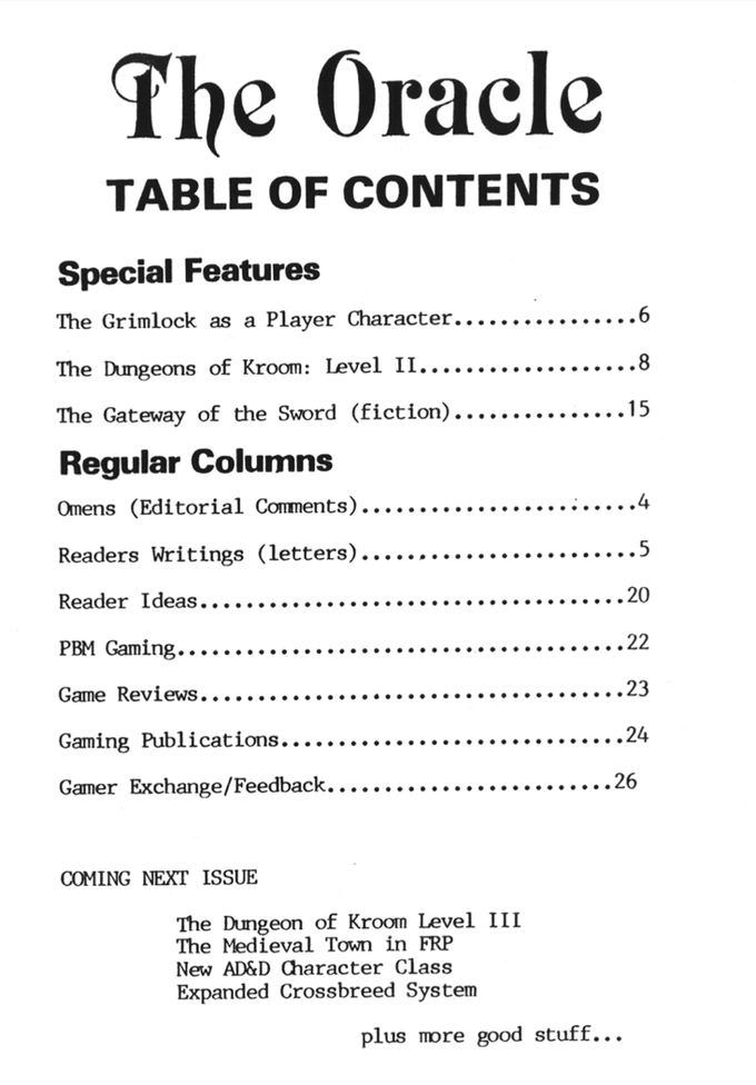 Issue Five table of contents