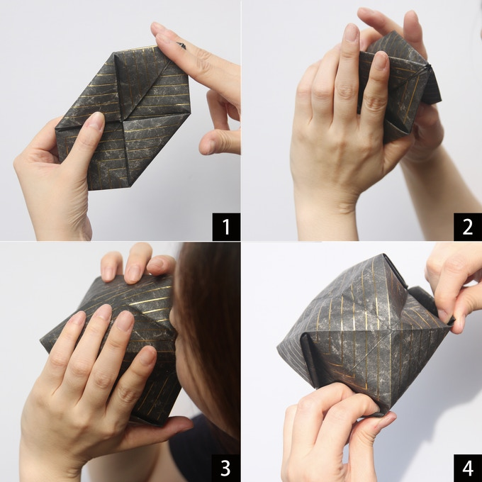 1) take O2 Vase out from the package and cut a bit. 2) hold the body. 3)blow air inside. 4)form it.