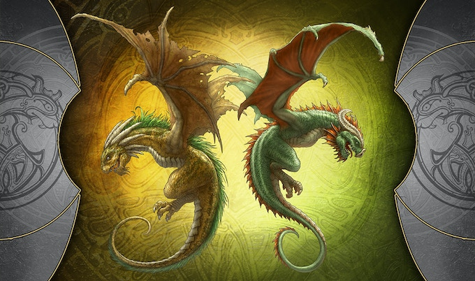 """Young Green & Gold Dragons (14""""X24"""")"""