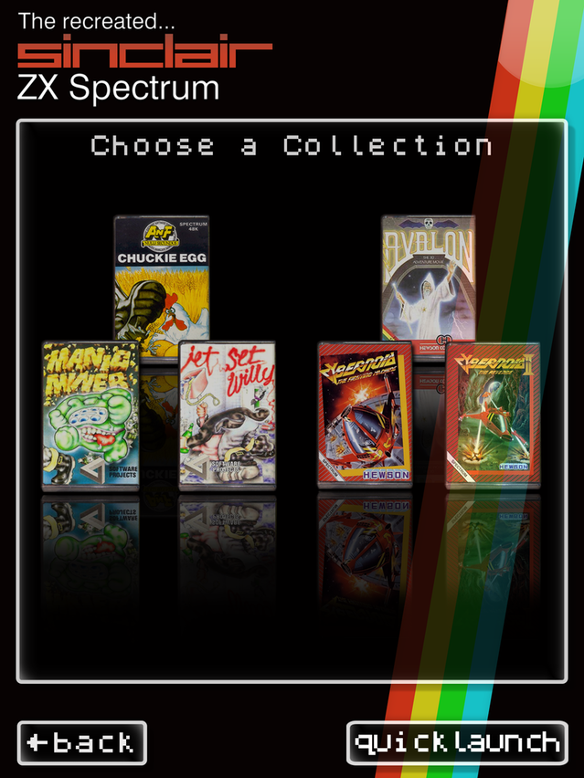 Caption: The Recreated ZX Spectrum iOS app. Invitations to backers to download this, one of the three companion apps, are being prepared for delivery by email.