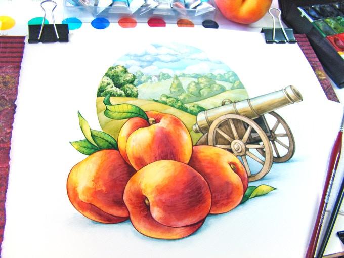 Artwork in watercolor by Iuliia Glushchuk.