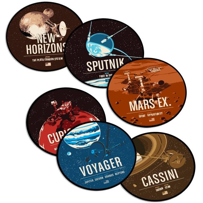 Voyager, Cassini, Curiosity, Mars Exploration, Sputnik and New Horizons Set