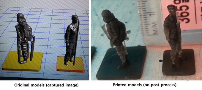Miniature soldiers; 25um-thick-layer, thing#527918, 217908@Thingiverse