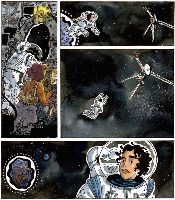 """Unlettered page from """"The Mystery of the Music From Space!"""" written by D.M. Higgins, art & color by Roxanne Bee."""
