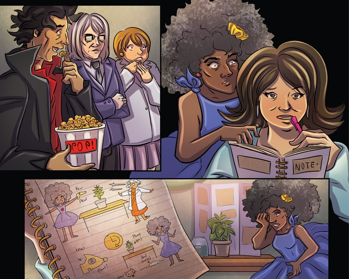 """Unlettered page from """"Who Atomized Prof. Van Diana?"""" written by N.J. Coyle, art by Ryan Incandenza, colors by Liezl Buenaventura."""