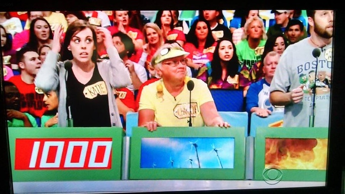 Writer/Performer Kate Cole (left) as a contestant on The Price Is Right.
