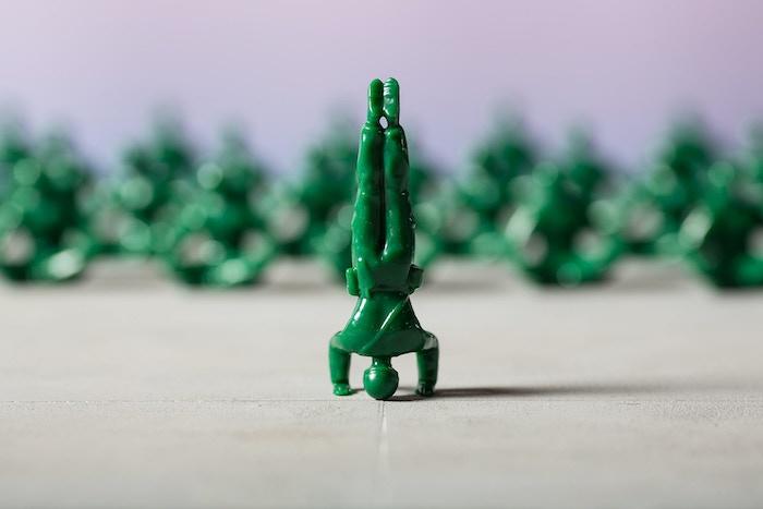 Yoga Joes: the classic green army men doing yoga