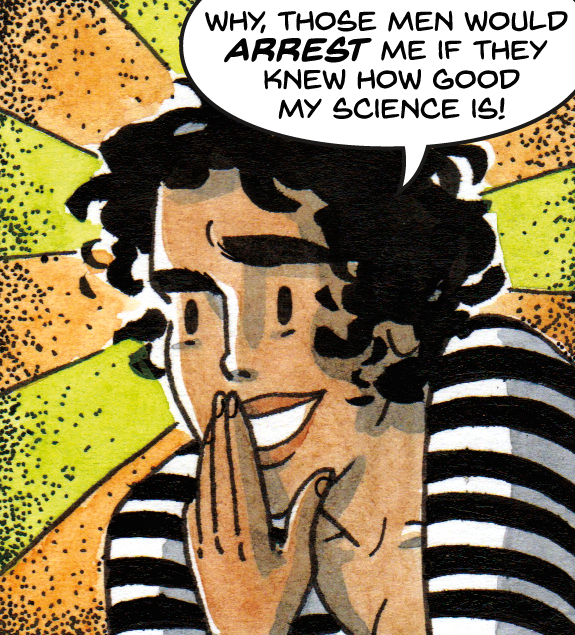 """From """"The Mystery of the Music From Space!"""" written & lettered by D.M. Higgins, art & color by Roxanne Bee."""