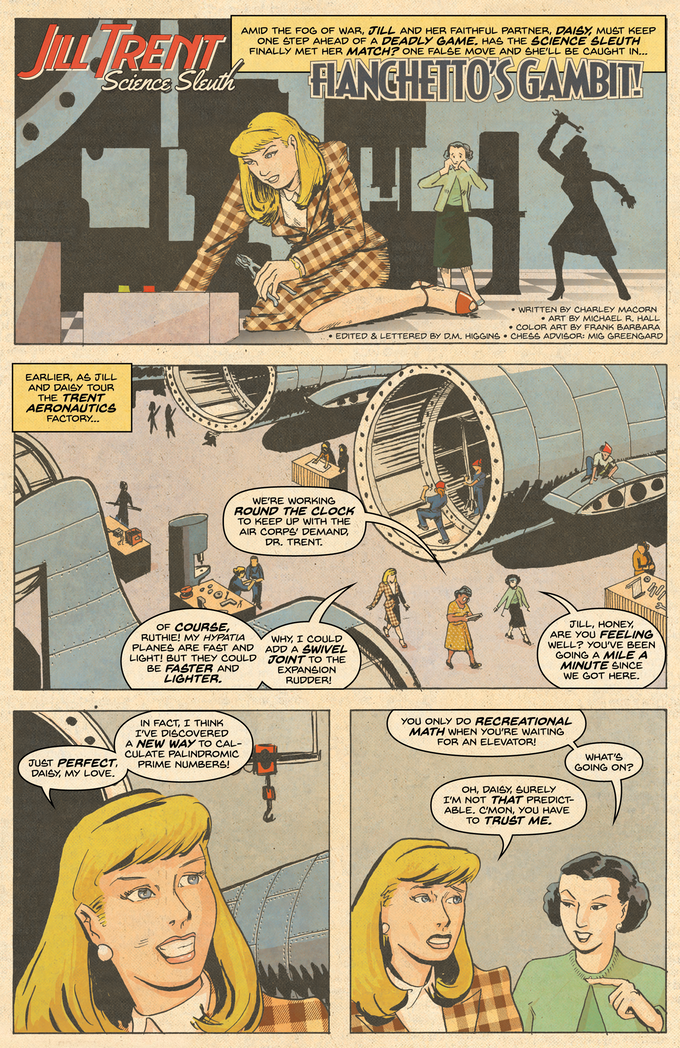 """From """"Fianchettos Gambit!"""" written by Charley Macorn, art by Michael R. Hall, color by Frank Barbara, lettered by D.M. Higgins."""