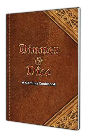 Cover design planned for Dinner and Dice, a Gaming Cookbook!