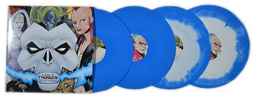 Vinyl album (blue & white mixed vinyl and solid blue versions shown)