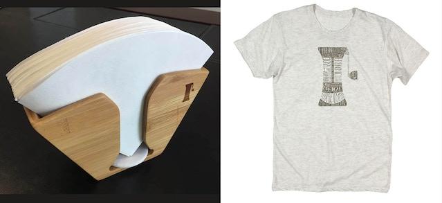 Handground bamboo filter racks and tshirt design