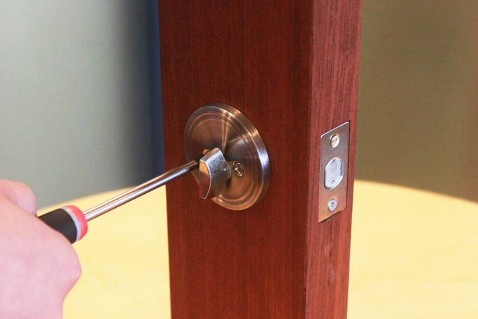 Step 1 - Unscrew the inside of your lock (it doesn't have to look like this)