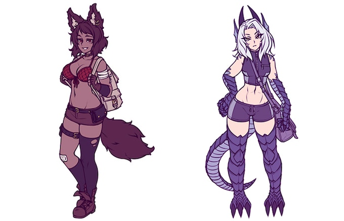 Wolf and lizard concepts by monorus!