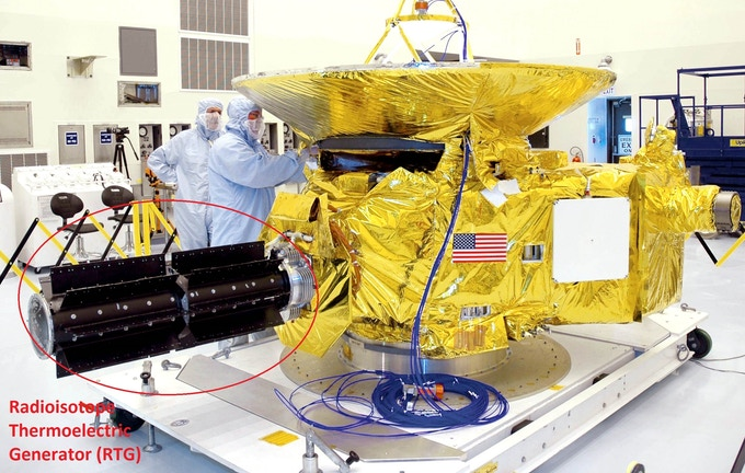 Radioisotope Thermoelectric Generator (RTG) in NASA's New Horizons spacecraft.  Credit: NASA