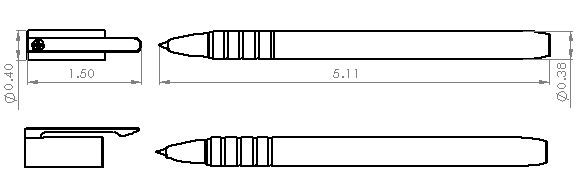 Full Size Pilot G2™ Gel / Space Pen™ Dimensions