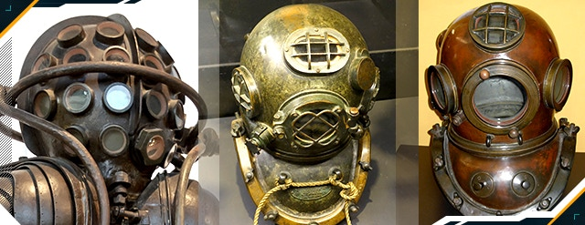 Antique diving helmets that will serve as inspiration for the Limited Edition Box