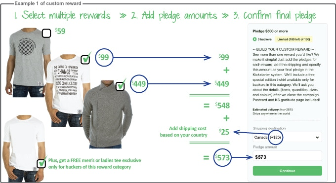 Example - Selecting a philanthropic tee and a yak cardigan