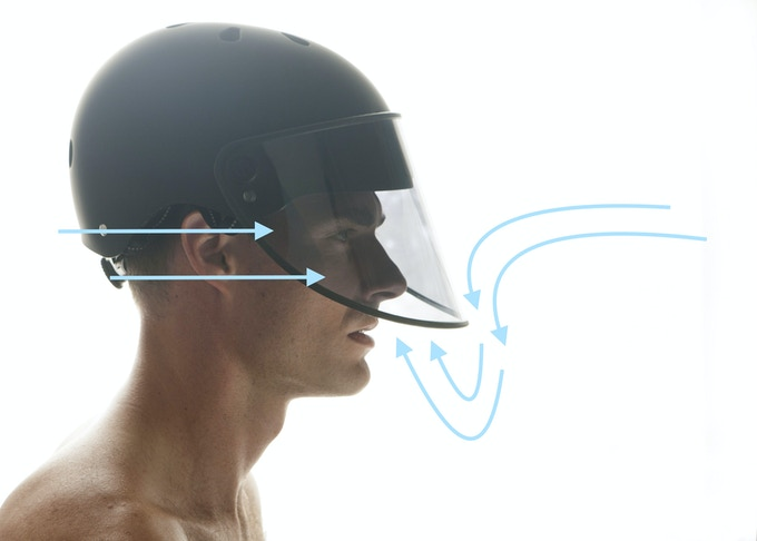 The air flows underneath the visor and up to the face for a very breathable ride.