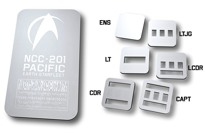 Pacific 201's unique Starfleet badge and rank pins! The badge is 3.5 x 2 inches, and the pins are 1 x 1 inch.