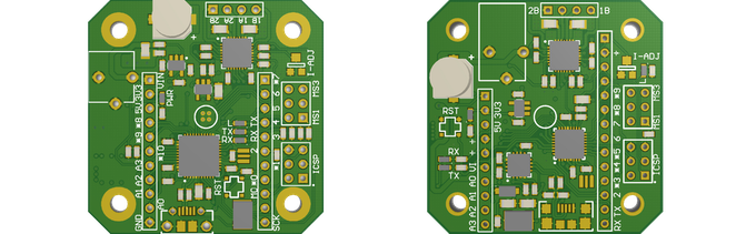 The first prototype on the left, and preliminary PCB design on the right