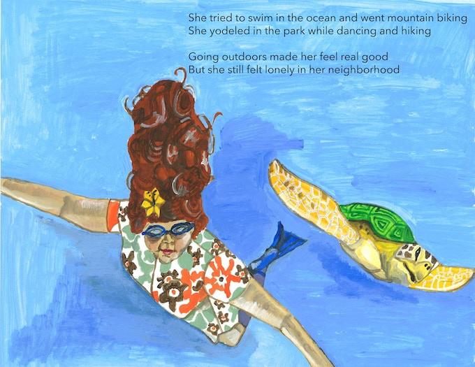 Madame Yoo swimming in the ocean