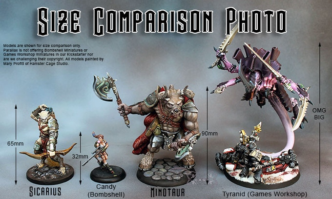 Models are shown for size comparison only.  Parallax is not offering Bombshell Miniatures or Games Workshop miniatures in our KIckstarter nor  are we challenging their copyright. All models painted by Mary Profitt of Hamster Cage Studio.