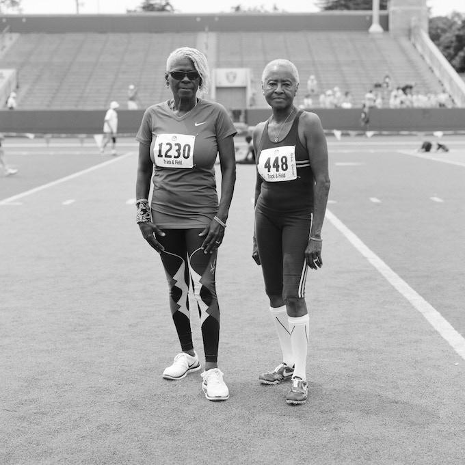 Joann & Barbara, 70-74 division sprinters. Minneapolis, 2015.