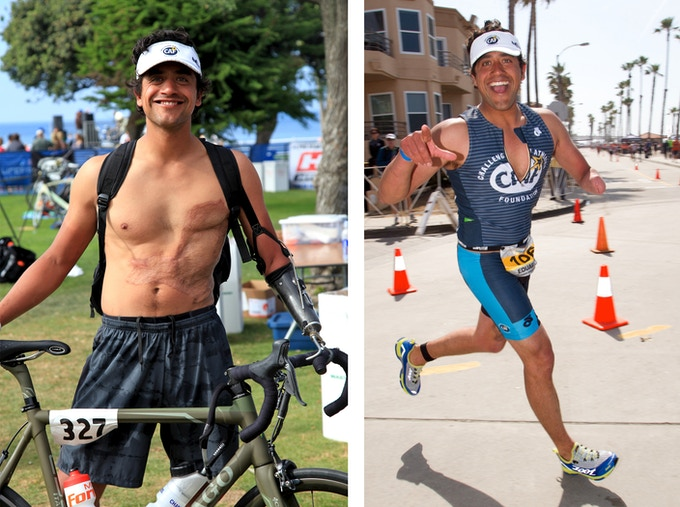 "Eduardo completing a triathlon while representing the ""Challenged Athletes Foundation."""