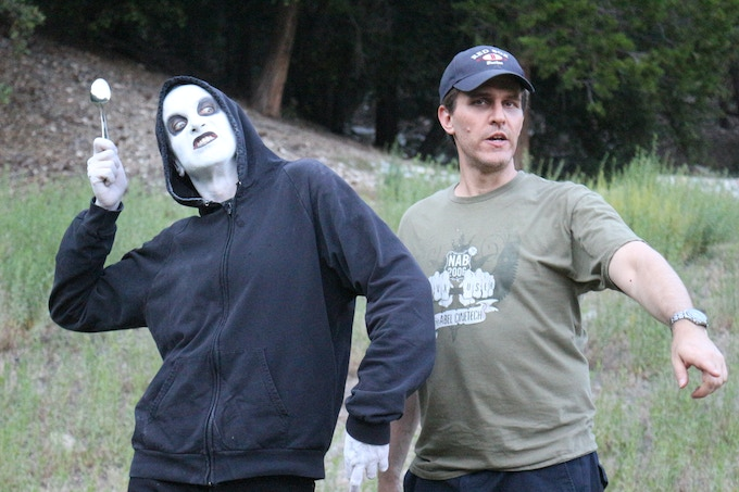 Brian Rohan and Richard Gale on set