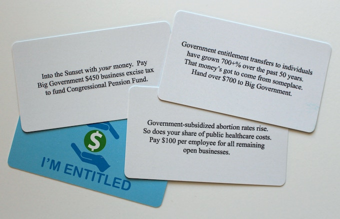 "Examples of the 15 ""I'm Entitled"" Cards"