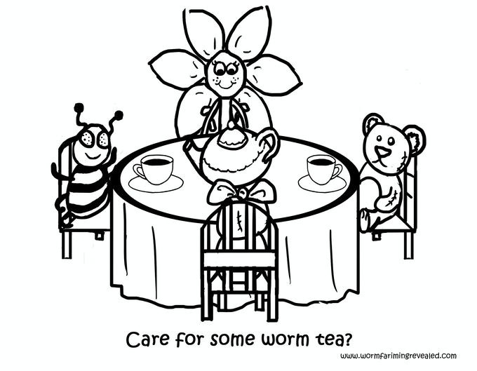 Worm Tea Party Coloring Page