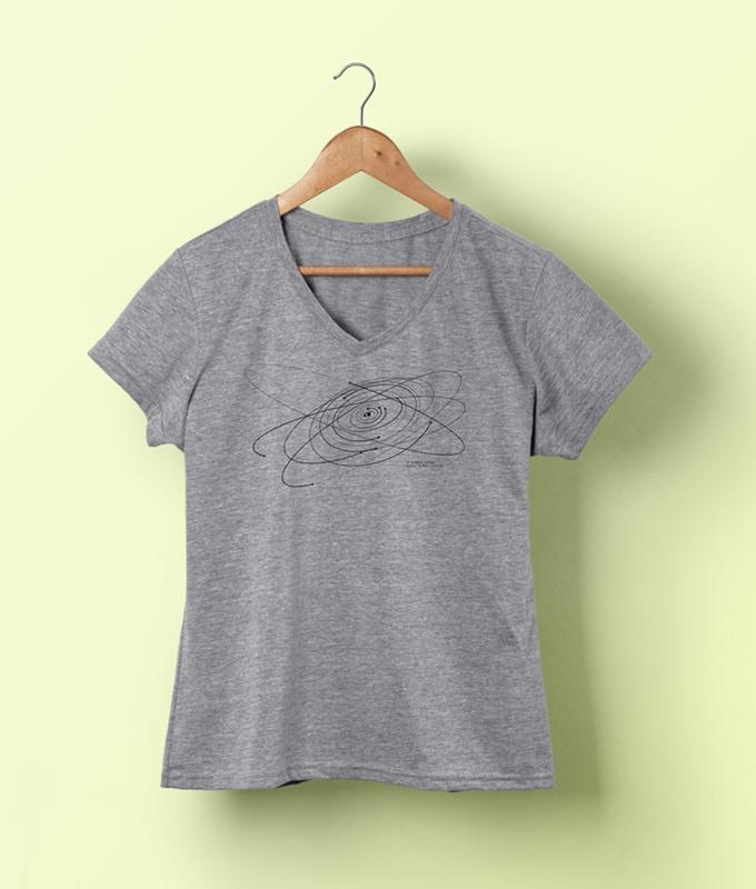 heather grey woman V-neck T-shirt