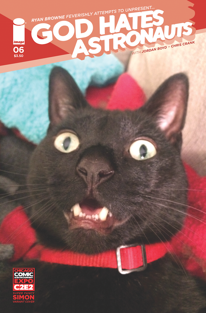 Simon, my wonderful cat, once graced the cover of God Hates Astronauts. NOW you can have a signed 4x6 Kickstarter exclusive photo of him to adore/scare people with!