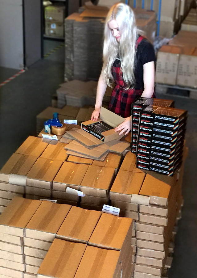 Caption: Units of the Recreated ZX Spectrum for backers (and for those who ordered the recreated device directly from Elite after our Kickstarter crowd-funding appeal closed) being prepared for despatch.