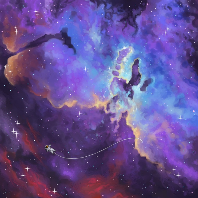 Floating by the pillars of creation. (Art by Beth Zyglowicz)