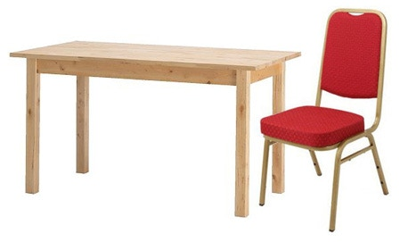 BJORKUDDEN table and example comfy banqueting chair