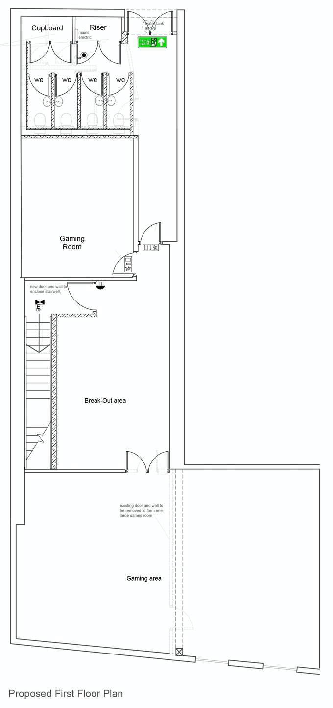 Plans of gaming space above new shop