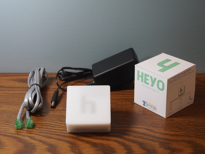 If you back the Heyo, the device will be shipped to you in retail packaging. It will come with a power adapter and telephone cord so you can connect the Heyo to your landline.