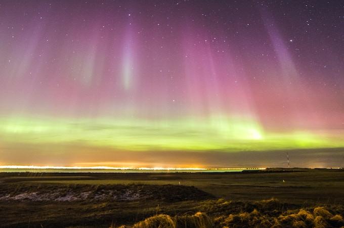 Colorful lights over Reykjavik