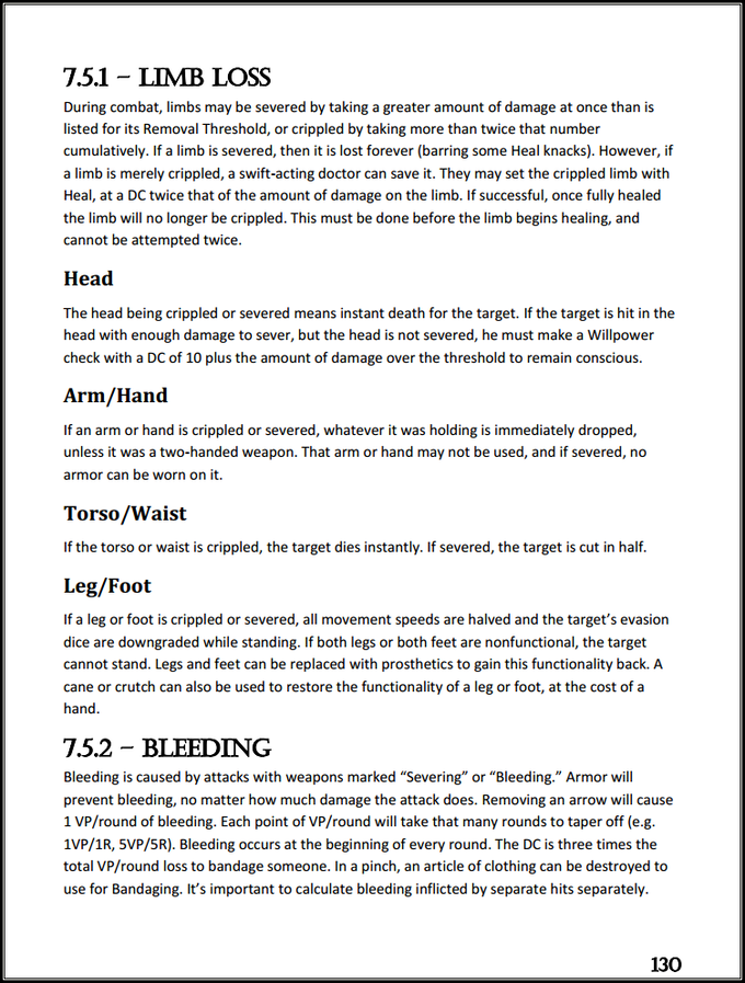 Page 130, Section 7 - Combat; excerpts from Limb Loss and Bleeding.