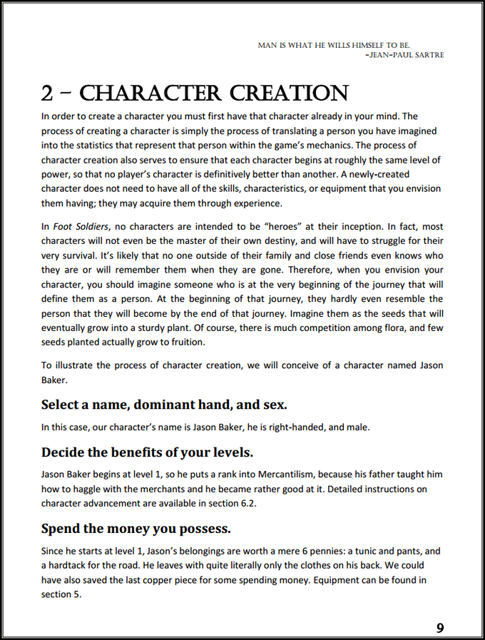 Page 9, Section 2 - Character Creation.