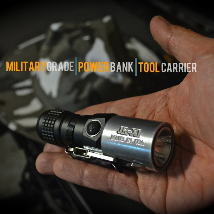 The JackRabbit X1 (JR-X1) is the most compact military grade 500 lumen flashlight with a built-in emergency power bank and tool carrier