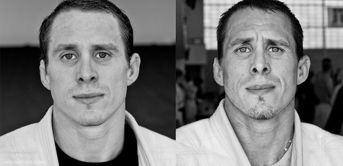 HIGH LOAD TRAINING: Euan Burton.  The portrait on the right is taken straight after high load training.